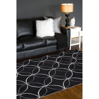 Hand-Tufted Contemporary Retro Chic Green/Black Geometric Abstract Polyester Rug (8' x 11')