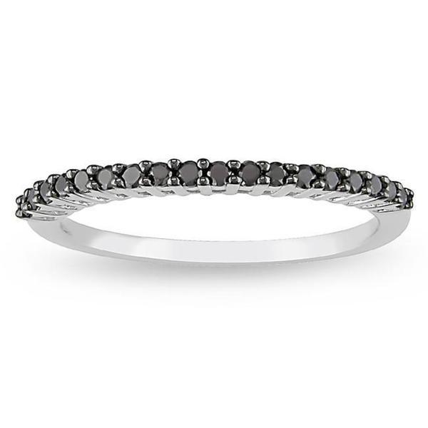 Haylee Jewels 10k White Gold 1/5ct TDW Black Diamond Ring