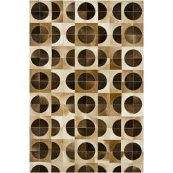 Handmade Mandara Brown Leather Rug (7'9 x 10'6)