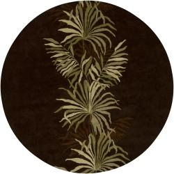 Hand-Tufted Mandara Brown/Green Floral New Zealand Wool Rug (7'9