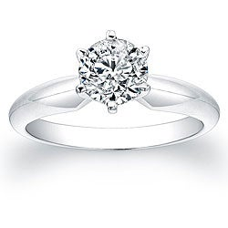 14k White Gold 1ct TDW Certified Diamond Solitaire Engagement Ring (G-H, I1-I2)