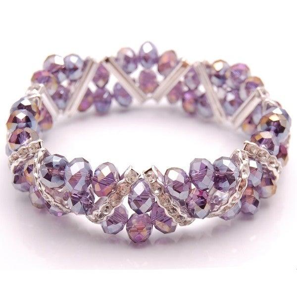 Crystal and Rhinestone Amethyst Purple Stretch Bracelet