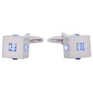 Cuff Daddy Silvertone Blue Crystal Cubic Cuff Links