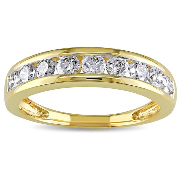 Miadora 14k Yellow Gold 3/4ct TDW Diamond Anniversary Ring (H-I, I2-I3)