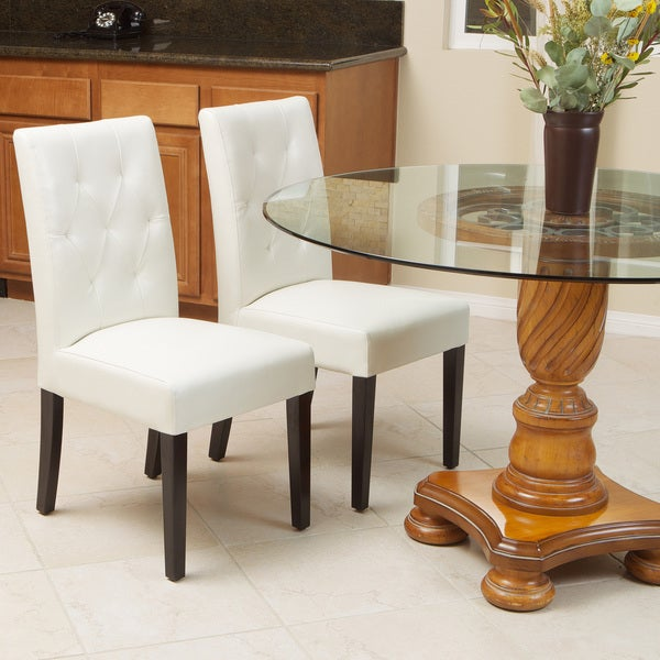 Christopher Knight Home Gentry Bonded Leather Ivory Dining Chair (Set of 2)