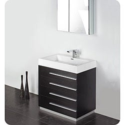 Fresca Livello 30-inch Black Bathroom Vanity and Medicine Cabinet
