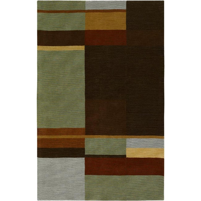 Hand-tufted Contemporary Squares Tailored Geometric Multicolored Wool Area Rug (5' x 8')
