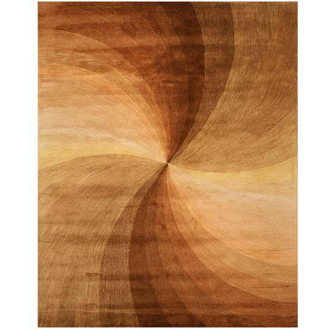 Hand-tufted Brown Swirl Wool Rug (7'9 x 9'9)
