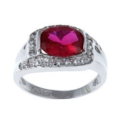 Sterling Essentials Sterling Silver Oval-cut Cubic Zirconia Ring