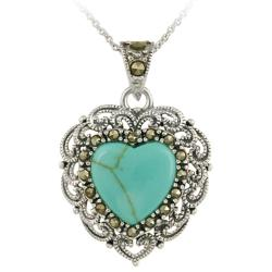 Glitzy Rocks Sterling Silver Turquoise and Marcasite Heart Necklace