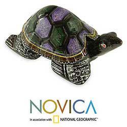Lacquered Wood 'Longevity Turtle' Sculpture (Thailand)