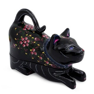 'Kitty Cat Happiness' Lacquered Wood Box (Thailand)