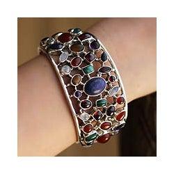 Sterling Silver 'Shimmering Confetti' Gemstone Cuff Bracelet (India)