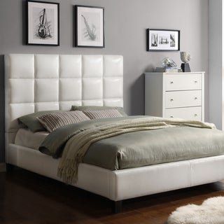 INSPIRE Q Fenton White Bonded Leather Panel King-sized Upholstered Bed