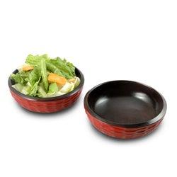 Set of 2 Mango Wood Brick Side Salad Bowls (Thailand)
