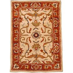 Indo Hand-tufted Beige/ Rust Wool Rug (2' x 3')