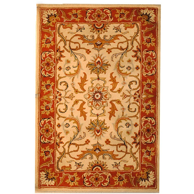 Indo Hand-tufted Beige/ Rust Wool Rug (3'3 x 5'3)