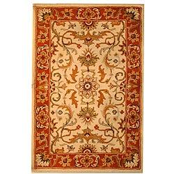 Indo Hand-tufted Beige/ Rust Wool Rug (3'3 x 5'3)