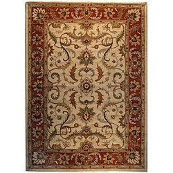 Indo Hand-tufted Beige/ Rust Wool Rug (8' x 11')