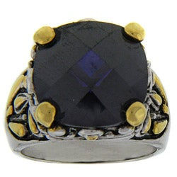 Dolce Giavonna Two-tone Brass Purple Cubic Zirconia Ring