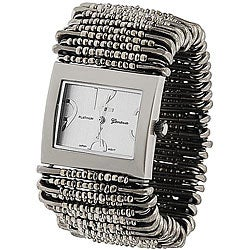 Geneva Women's 'Platinum' Safety Pin Stretch Watch