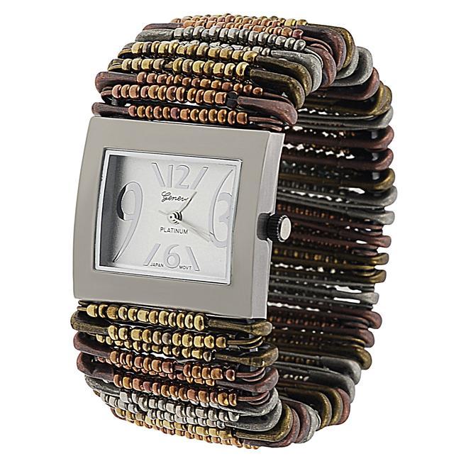 Geneva Women's 'Platinum' Multicolor Safety-pin Stretch Watch