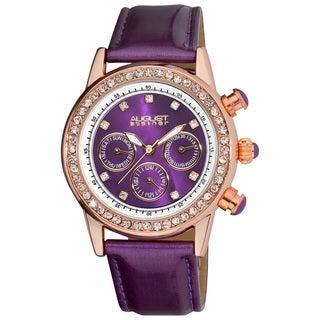 August Steiner Women's Multifunction Dazzling Leather-strap Watch