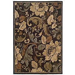 "Brown Floral Area Rug (7'10"" x 10')"