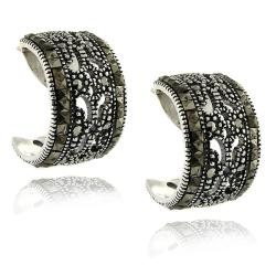 Dolce Giavonna Sterling Silver Marcasite Half-hoop Earrings