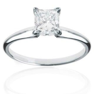 14k White Gold 1/4ct TDW Princess Cut Diamond Solitaire Ring (H-I, I1-I2)