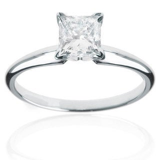 14k White Gold 1/4ct TDW Princess Cut Diamond Solitaire Ring (H-I, I1-I2)