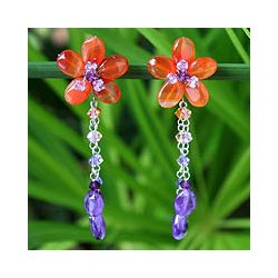 Stainless Steel 'Sweet Eternal' Carnelian Amethyst Floral Earrings (Thailand)