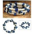 'Blue Solstice' Freshwater Pearl Lapis Bracelet (4 mm) (Thailand)