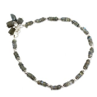 Sterling Silver 'Mystical Inspiration' Labradorite Anklet (India)