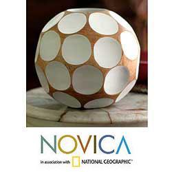 Handcrafted Mango Wood 'White Soccer Ball' Vase (Thailand)