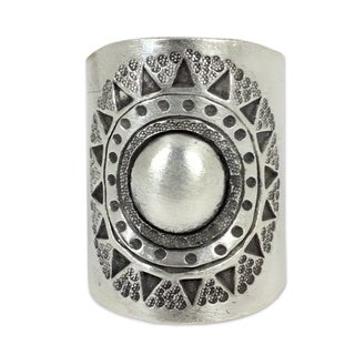Sterling Silver 'Hill Tribe Sun' Wrap Ring (Thailand)