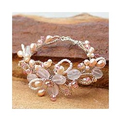 'Honey Peach' Freshwater Pearl Bracelet (4-6 mm) (Thailand)