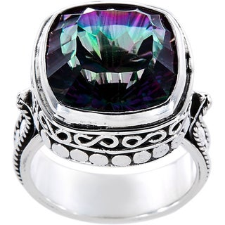 Sterling Silver Square Mystic Fire Quartz Luxury Ring (Indonesia)