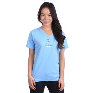 Coed Sportswear Women's 'Wine a Little' Light Blue V-neck Tee