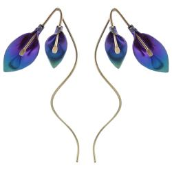 Goldfill, Alloy and Niobium Calla Lily Spiral Earrings
