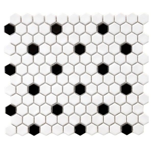 SomerTile 10.25x11.75-in Victorian Hex 1-in White/Black Dot Porcelain Mosaic Tile (Pack of 10)