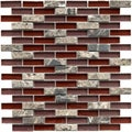 SomerTile 12x12-in Reflections Subway 5/8x2-in Bordeaux Glass/Stone Mosaic Tile (Pack of 10)