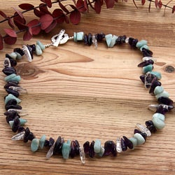 Silverplated 'Arctic Vintage' Amethyst and Amazonite Necklace