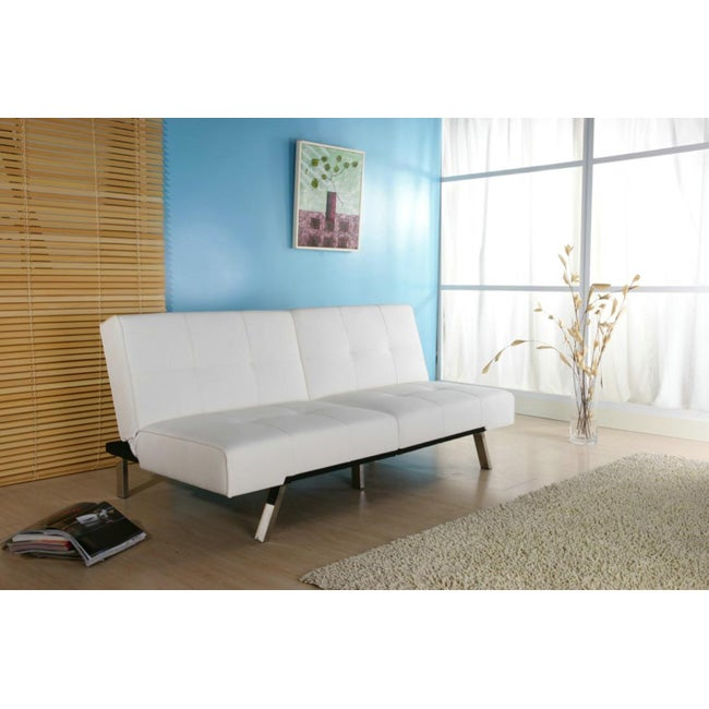 Jacksonville white foldable futon sofa bed overstock for Sofa bed overstock