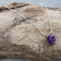 Sterling Silver Forever a Purple Rose Necklace (Israel)
