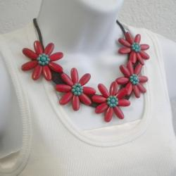 Cotton Rope Red Coral and Turquoise Flower Necklace (Thailand)