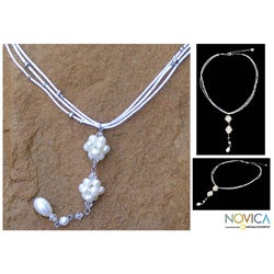Cotton 'Floral Elegance' Freshwater Pearl Necklace (4-8 mm) (Thailand)