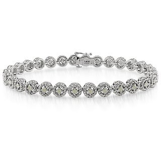 Haylee Jewels Sterling Silver 1ct TDW Diamond Halo Bracelet (H-I, I2-I3)