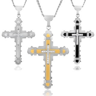Crucible Two-tone Stainless Steel Cubic Zirconia Multi-layer Cross Necklace