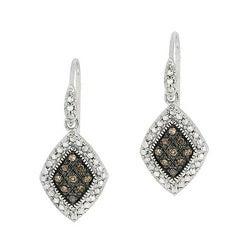 DB Designs Sterling Silver 1/5ct TDW Brown Diamond Dangle Earrings (I2-I3)